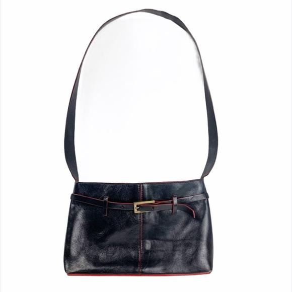 Francesco Biasia Black Leather Small Shoulder Bag